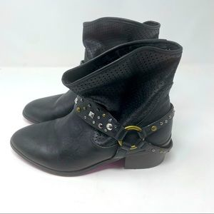 Twiggy London Leather Booties Straps Studded